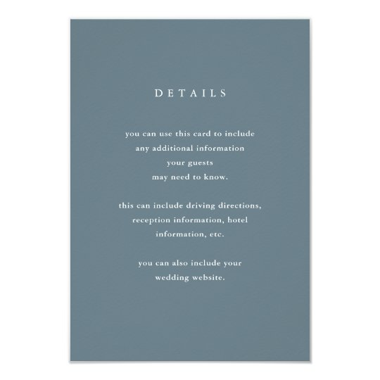 Modern and Simple Blue Grey Wedding Guest Details Card