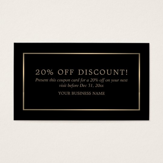 Modern and Sleek, Black and Gold, Coupon Voucher