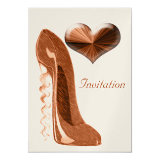 Modern and Stylish Stiletto Shoe and 3D Heart  Inv 13 Cm X 18 Cm Invitation Card