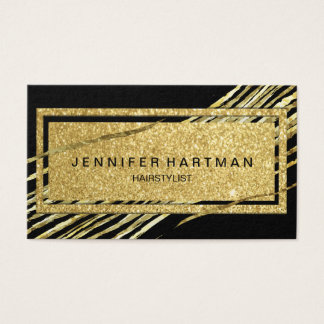 Modern and Trendy Black and Gold Glitter Business Card