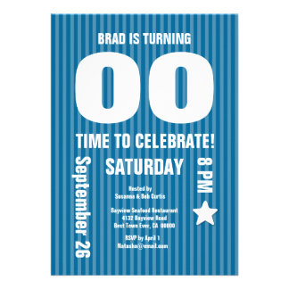 Modern Any Year Birthday STRIPES Blue T06 Cards