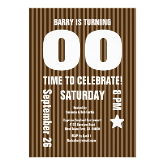 Modern Any Year Birthday STRIPES Brown T01 Card