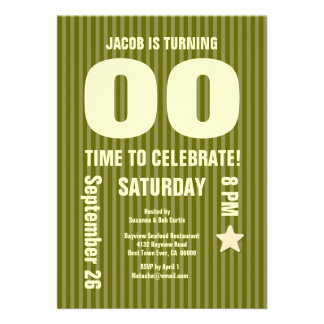 Modern Any Year Birthday STRIPES Green T04 Cards