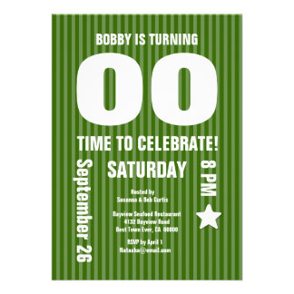 Modern Any Year Birthday STRIPES Green T09 Cards