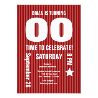 Modern Any Year Birthday STRIPES Red T08 Cards