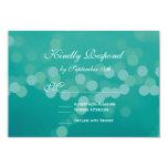 Modern Aqua Blue Green Bokeh Wedding RSVP Cards Custom Invitations