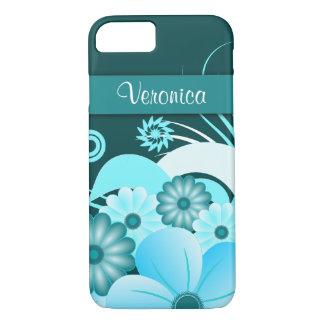 Modern Aqua Blue Teal Summer Hibiscus Floral Slim iPhone 8/7 Case