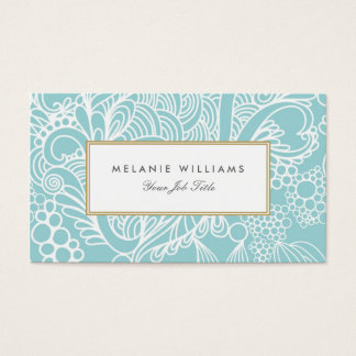 Modern Aqua Floral Business Cards