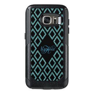 Modern Aqua Glitter Black Pattern Personalized OtterBox Samsung Galaxy S7 Case