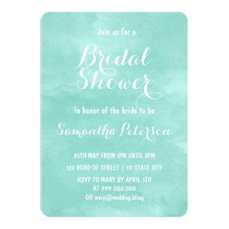 Modern aqua green watercolor bridal shower 13 cm x 18 cm invitation card