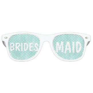 Modern aqua green watercolor Bridesmaid Retro Sunglasses