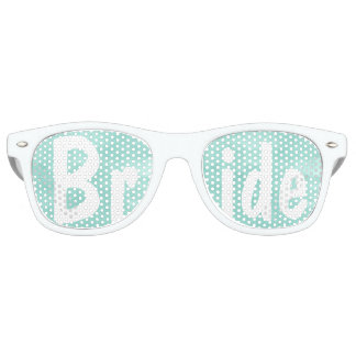 Modern aqua green watercolor wedding Bride Retro Sunglasses