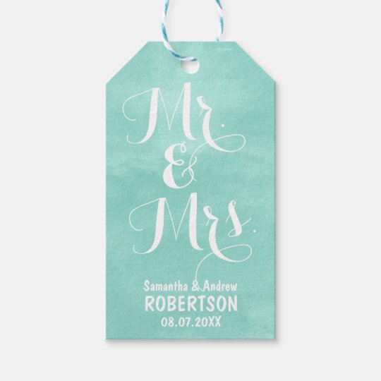 Modern aqua green watercolor wedding Thank you Gift