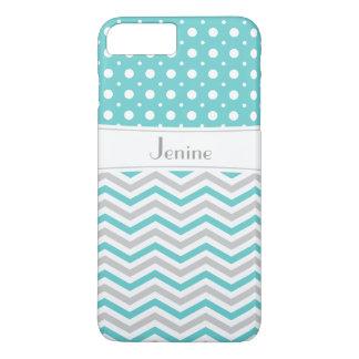 Modern aqua, grey, white chevron & polka dot iPhone 7 plus case