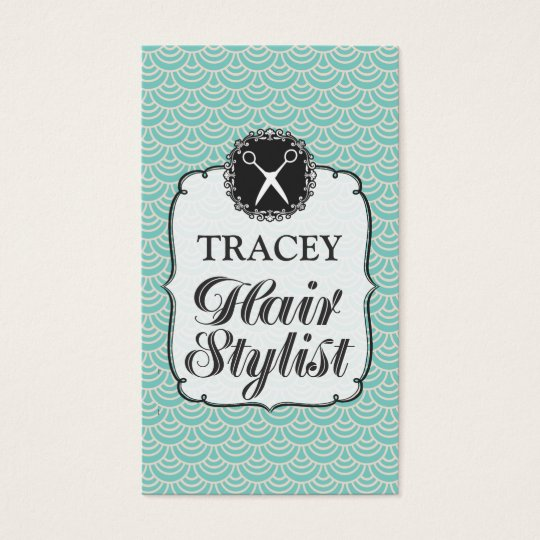 Modern Aqua Scales Hair Stylist Appointment Cards
