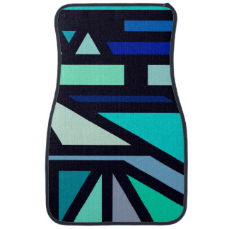 Modern Aqua, Teal, and Blue Geometric Pattern Car Mat