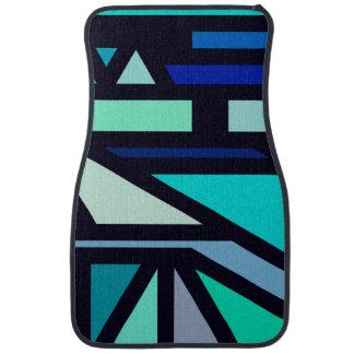 Modern Aqua, Teal, and Blue Geometric Pattern Floor Mat