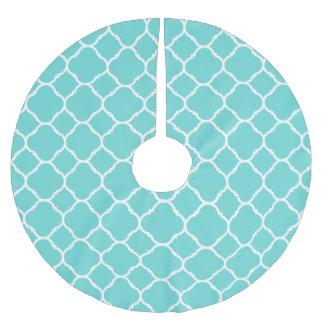Modern Aqua Turquoise Quatrefoil Lattice Pattern Brushed Polyester Tree Skirt
