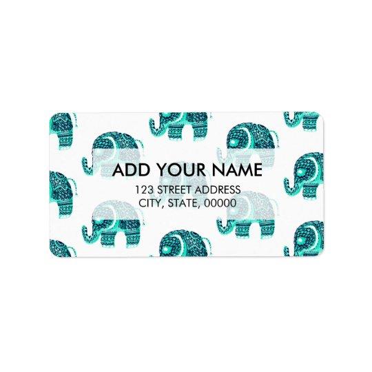 Modern aqua watercolor floral mandala elephant label
