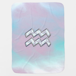 Modern Aquarius Sign on Mother of Pearl Style Baby Blanket