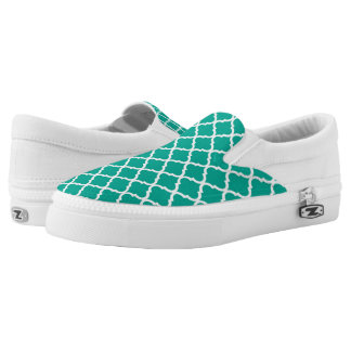 Modern Arcadia Teal Moraccan Quatrefoil Pattern Slip-On Shoes