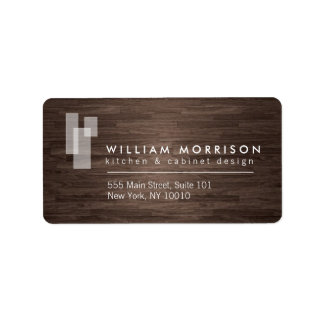 Modern Architectural Logo on Dark Woodgrain Address Label