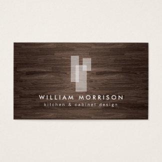 Modern Architectural Logo on Dark Woodgrain Business Card