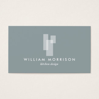 Modern Architectural Logo on Gray Business Card