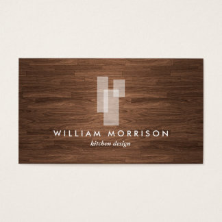 Modern Architectural Logo on Woodgrain