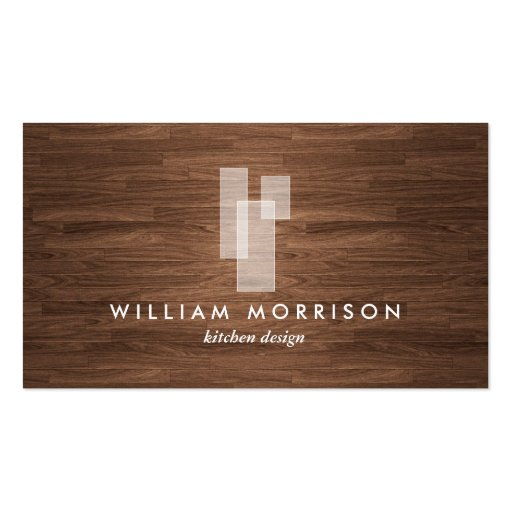 Modern Architectural Logo on Woodgrain Business Card Template