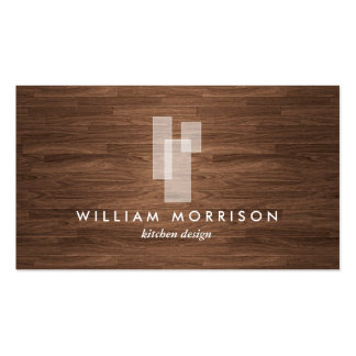 Modern Architectural Logo on Woodgrain Pack Of Standard Business Cards