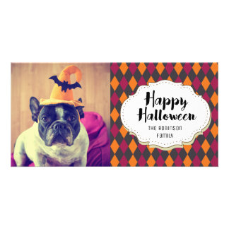 Modern Argyle Pattern Halloween Picture Photo Card
