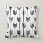 Modern Arrow Fletching Pattern Black and White Cushion
