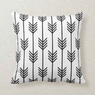 Modern Arrow Fletching Pattern Black and White Cushion