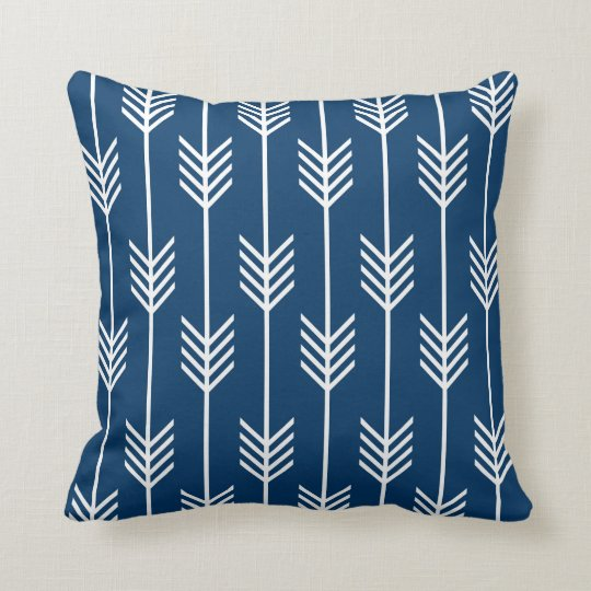 Modern Arrow Fletching Pattern Navy Blue Cushion