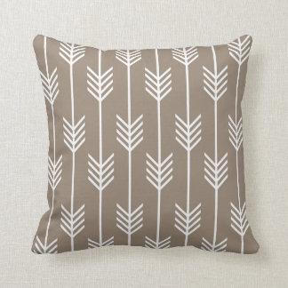 Modern Arrow Fletching Pattern Taupe Cushion