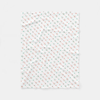 Modern Arrows Pillow in mint and coral Fleece Blanket