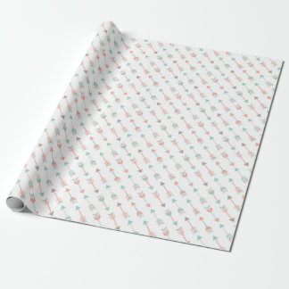 Modern Arrows Pillow in mint and coral Wrapping Paper