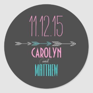 Modern Arrows | Pink | Aqua Wedding Sticker