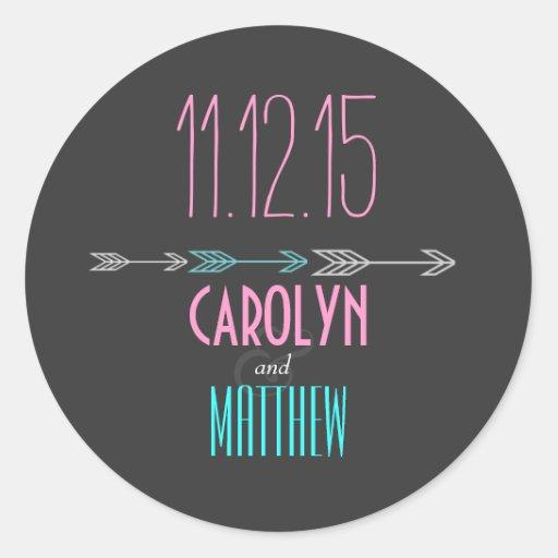 Modern Arrows | Pink | Aqua Wedding Sticker Sticker