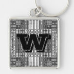 Modern art abstract in grey monogram W Silver-Colored Square Key Ring