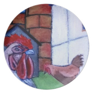 Modern Art Animal Plate - Rooster And Hen