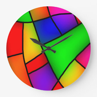 Modern Art, Artistic Colorful Mosaic Large Clock