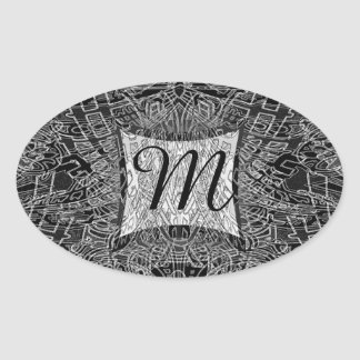Modern Art Black and White Monogram Oval Sticker