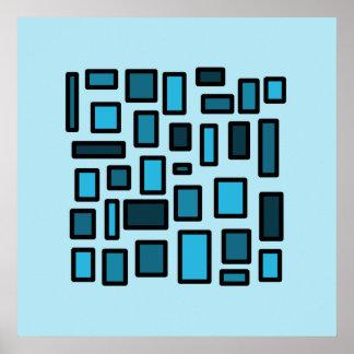 Modern art blue squares poster
