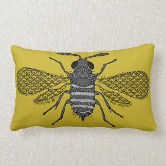 Modern Art Bumble Bee Print Cushion - Mustard