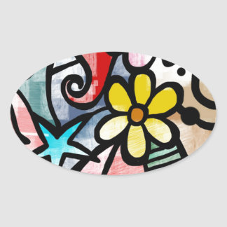 modern Art Colors Design Oval Sticker