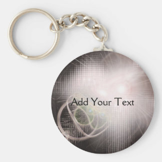 Modern Art Cubes and Swirls Basic Round Button Key Ring
