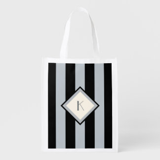 Modern Art Deco Black and Silver Stripes Initial Reusable Grocery Bag