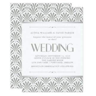 Modern Art Deco   Elegant Gray and White Wedding Card